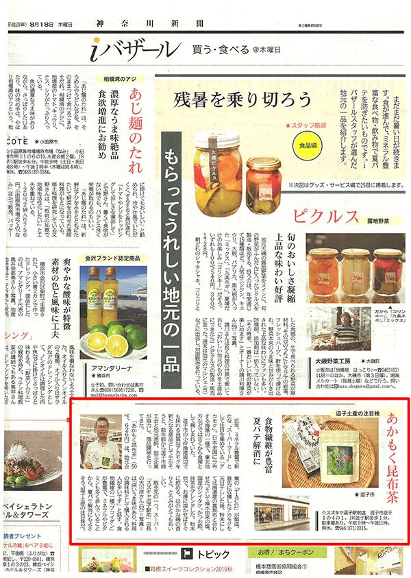 神奈川新聞2016年8月18日朝刊記事
