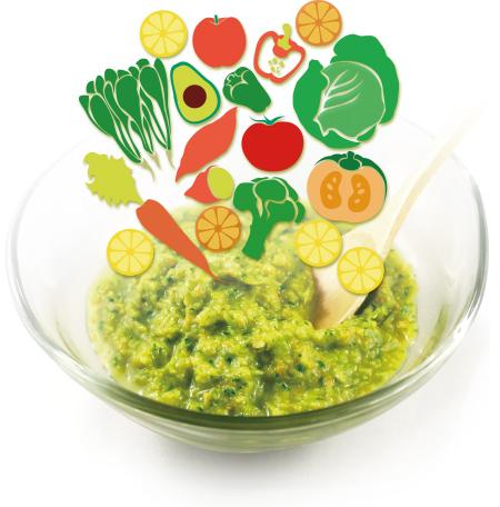 12種類以上の新鮮な野菜と果物を、食物繊維をこわさず低速回転でペースト状にしてから急速冷凍